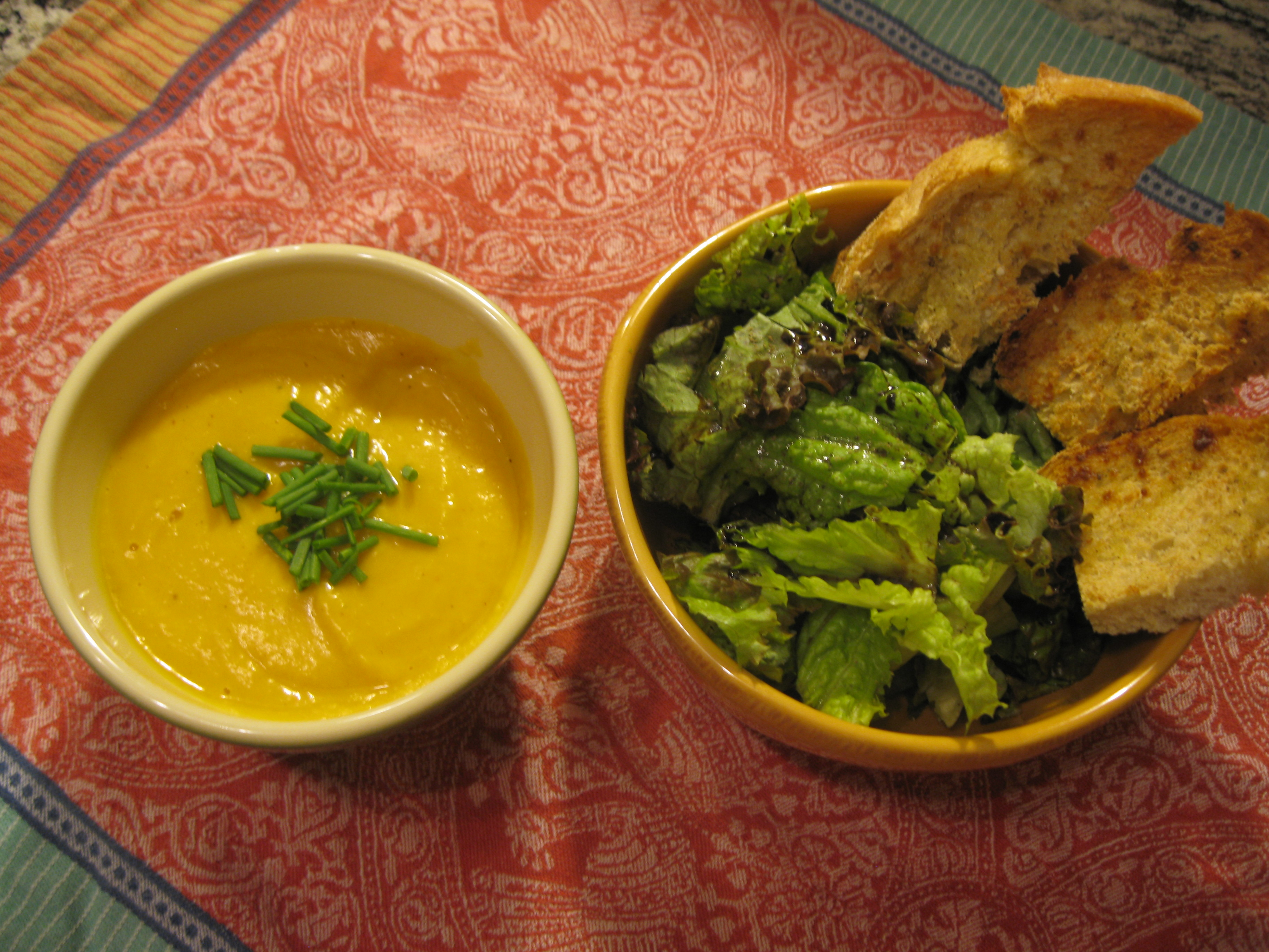 Recipe 11.4: Roasted Butternut Squash Soup with Salad and Bread Toasts