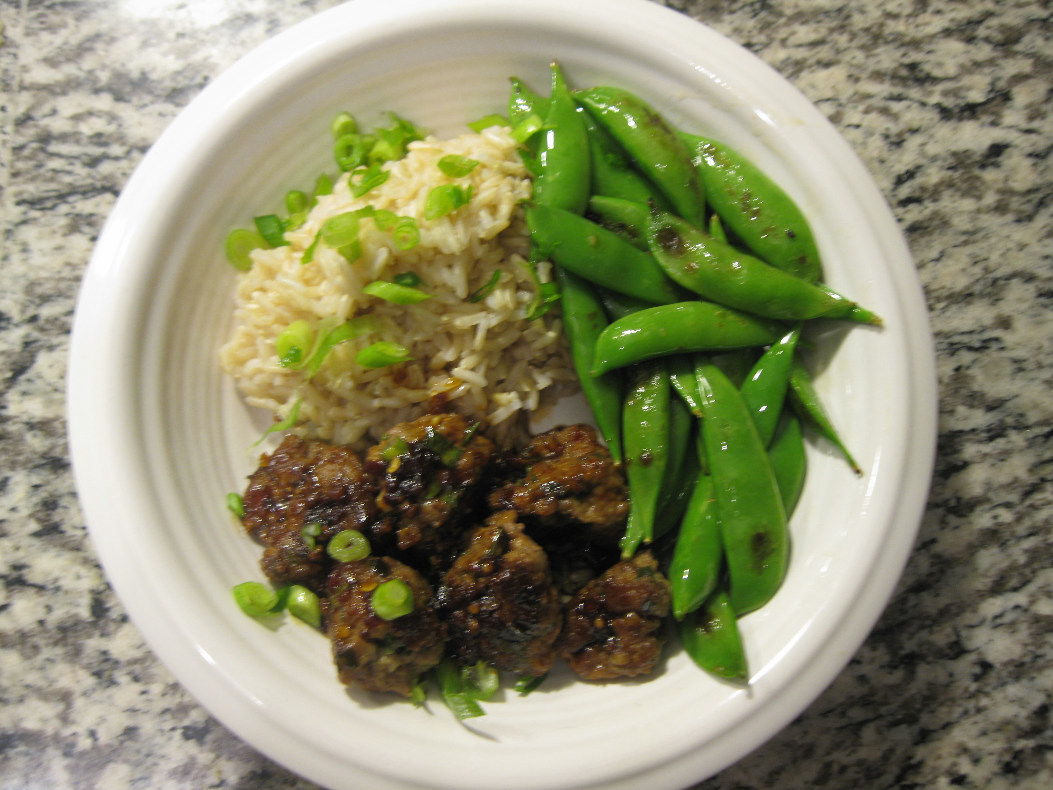 Recipe 16.2: Sesame Soy Meatballs with Brown Rice and Sugar Snap Peas