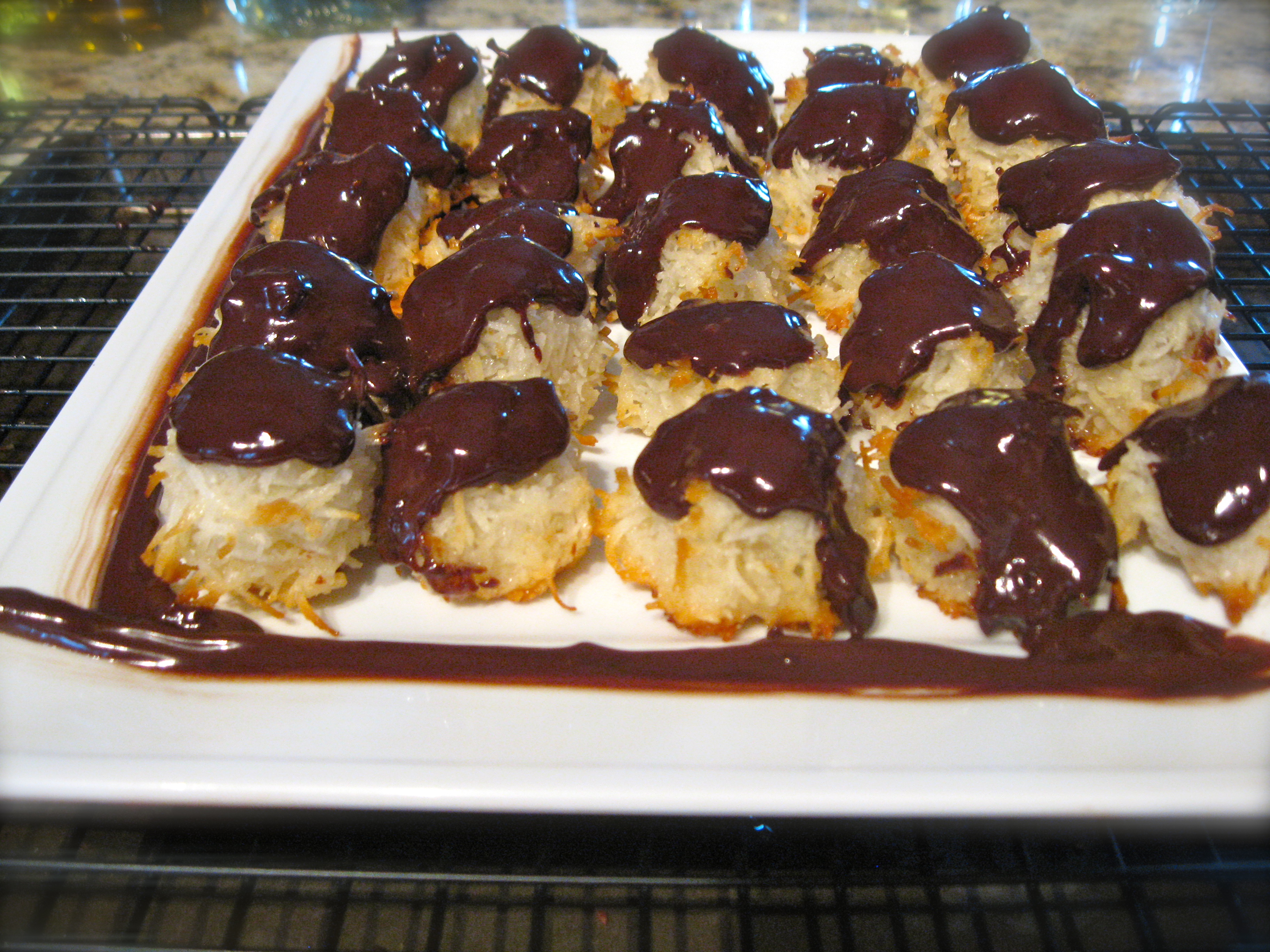 Chocolate Drenched Coconut Macaroons